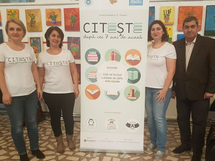 Echipa organizatoare a proiectului Citeste dupa cei 7 ani de-acasa alaturi de scriitorul pentru copii Petre Craciun