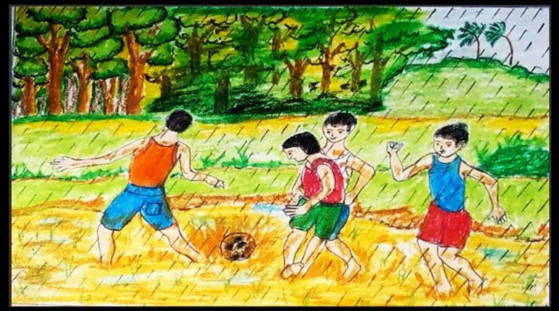 Copii jucandu-se fotbal in ploaie