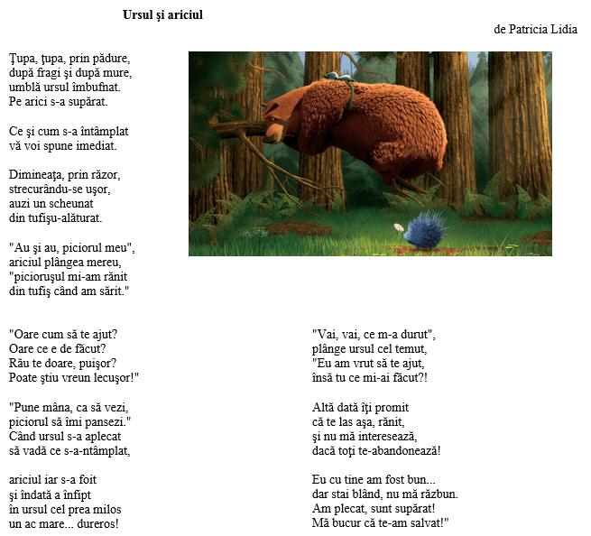 poezie Ursul si ariciul de Patricia Lidia