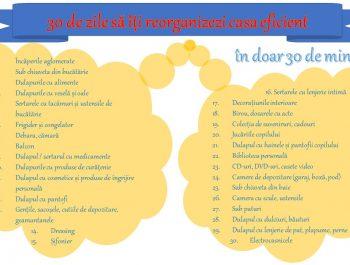 Provocarea (30 de zile – 30 de minute pe zi) să îți reorganizezi casa eficient